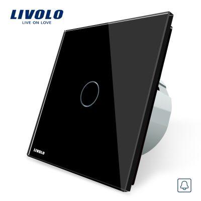 Buton sonerie cu touch Livolo din sticla culoare neagra