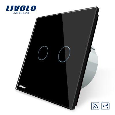 Intrerupator dublu cap scara / cap cruce wireless Livolo din sticla culoare neagra