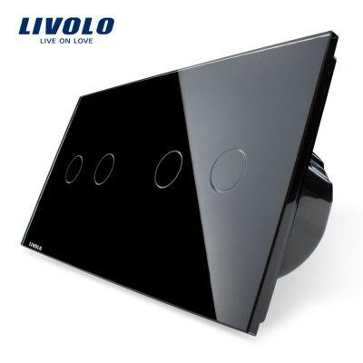 Intrerupator dublu + dublu cu touch Livolo din sticla culoare neagra