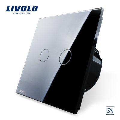 Intrerupator dublu wireless cu touch Livolo din sticla culoare neagra