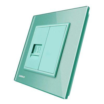 Priza internet Livolo cu rama din sticla culoare verde
