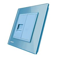 Priza internet Livolo cu rama din sticla culoare albastra
