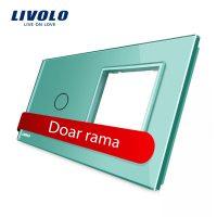 Panou intrerupator simplu cu touch si priza simpla Livolo din sticla culoare verde