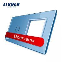 Panou intrerupator simplu cu touch si priza simpla Livolo din sticla culoare albastra