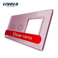 Panou intrerupator dublu cu touch + priza simpla Livolo din sticla culoare roz