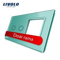 Panou intrerupator dublu cu touch + priza simpla Livolo din sticla culoare verde