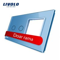 Panou intrerupator dublu cu touch + priza simpla Livolo din sticla culoare albastra