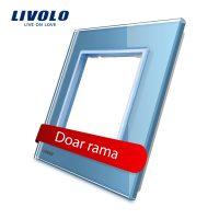 Rama priza simpla Livolo din sticla culoare albastra