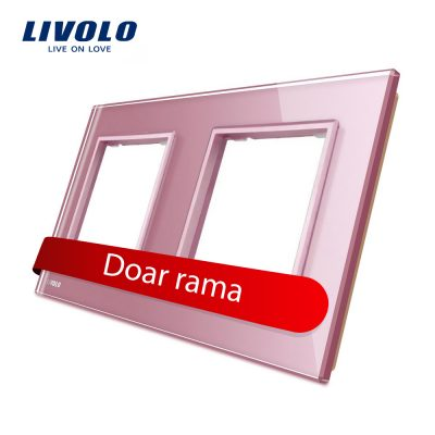 Rama priza dubla Livolo din sticla culoare roz