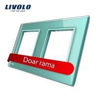 Rama priza dubla Livolo din sticla culoare verde