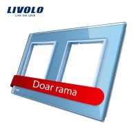 Rama priza dubla Livolo din sticla culoare albastra