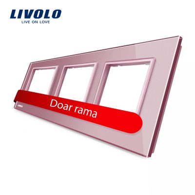 Rama priza tripla Livolo din sticla culoare roz