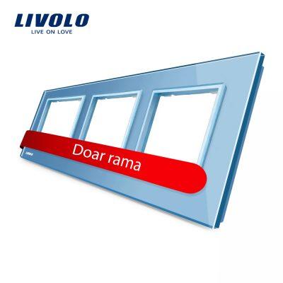 Rama priza tripla Livolo din sticla culoare albastra