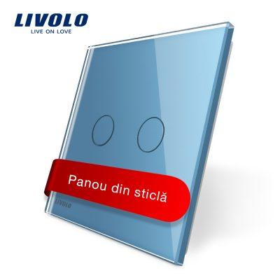 Panou intrerupator dublu cu touch Livolo din sticla culoare albastra