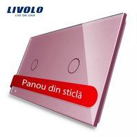 Panou intrerupator simplu+simplu cu touch Livolo din sticla culoare roz