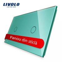 Panou intrerupator simplu+simplu cu touch Livolo din sticla culoare verde