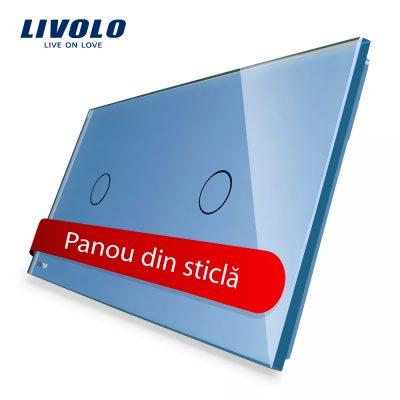 Panou intrerupator simplu+simplu cu touch Livolo din sticla culoare albastra