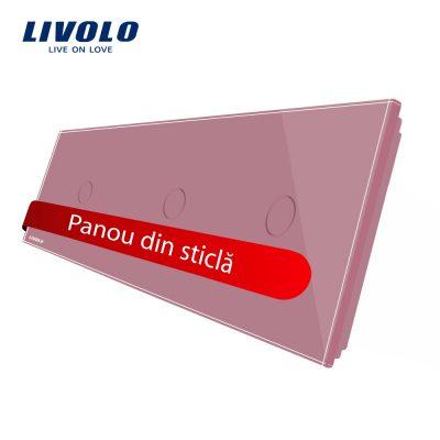Panou intrerupator simplu+simplu+simplu cu touch Livolo din sticla culoare roz