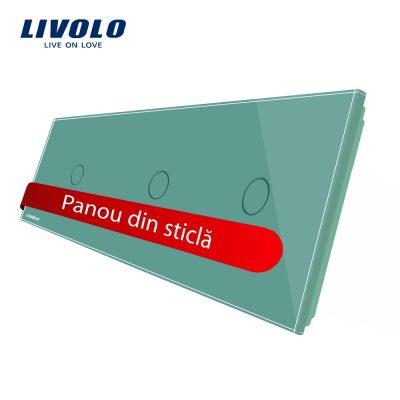 Panou intrerupator simplu+simplu+simplu cu touch Livolo din sticla culoare verde
