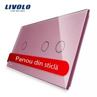 Panou intrerupator simplu+dublu cu touch Livolo din sticla culoare roz