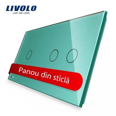 Panou intrerupator simplu+dublu cu touch Livolo din sticla culoare verde