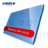 Panou intrerupator simplu+dublu cu touch Livolo din sticla culoare albastra