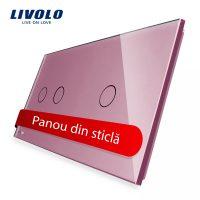 Panou intrerupator dublu + simplu cu touch Livolo din sticla culoare roz