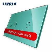 Panou intrerupator dublu + simplu cu touch Livolo din sticla culoare verde