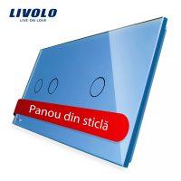 Panou intrerupator dublu + simplu cu touch Livolo din sticla culoare albastra