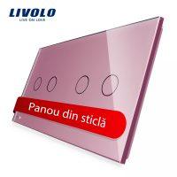 Panou intrerupator dublu+dublu cu touch Livolo din sticla culoare roz