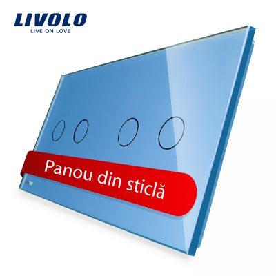 Panou intrerupator dublu+dublu cu touch Livolo din sticla culoare albastra