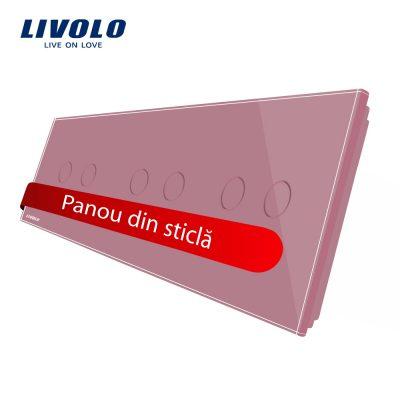Panou intrerupator dublu+dublu+dublu cu touch Livolo din sticla culoare roz