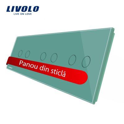 Panou intrerupator dublu+dublu+dublu cu touch Livolo din sticla culoare verde
