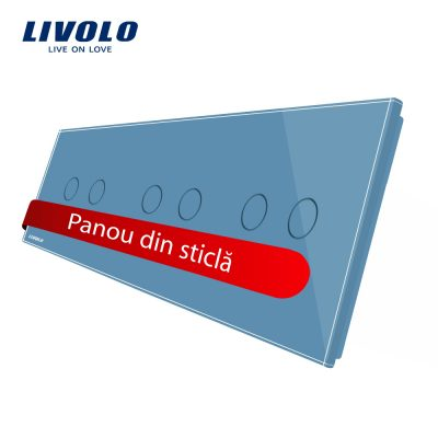 Panou intrerupator dublu+dublu+dublu cu touch Livolo din sticla culoare albastra