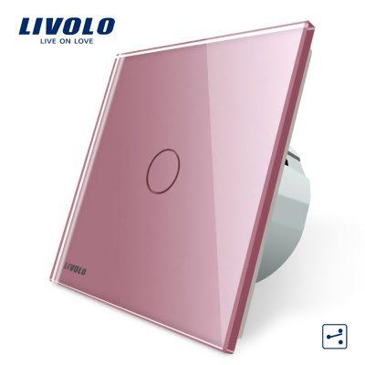 Intrerupator cap scara / cap cruce cu touch Livolo din sticla culoare roz