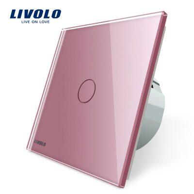 Intrerupator simplu cu touch Livolo din sticla culoare roz