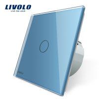 Intrerupator simplu cu touch Livolo din sticla culoare albastra