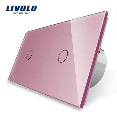 Intrerupator simplu + simplu cu touch Livolo din sticla culoare roz