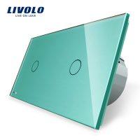 Intrerupator simplu + simplu cu touch Livolo din sticla culoare verde