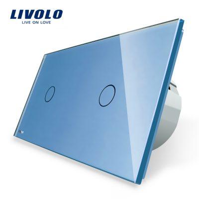 Intrerupator simplu + simplu cu touch Livolo din sticla culoare albastra