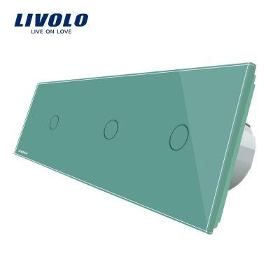Intrerupator triplu cu touch Livolo din sticla culoare verde