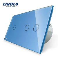 Intrerupator simplu + dublu cu touch Livolo din sticla culoare albastra