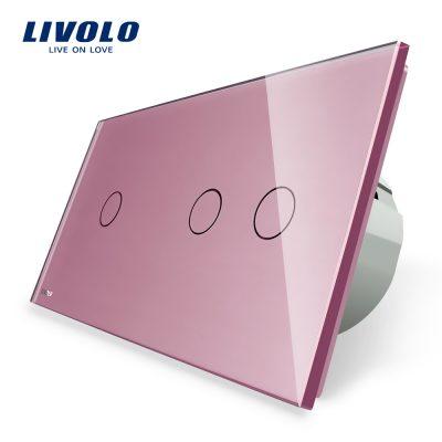 Intrerupator simplu + dublu cu touch Livolo din sticla culoare roz