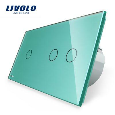 Intrerupator simplu + dublu cu touch Livolo din sticla culoare verde
