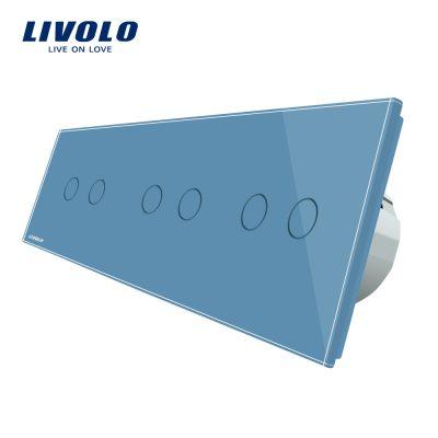 Intrerupator dublu+dublu+dublu cu touch Livolo din sticla culoare albastra