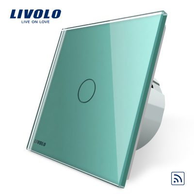 Intrerupator simplu wireless cu touch Livolo din sticla culoare verde