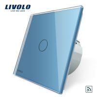 Intrerupator simplu wireless cu touch Livolo din sticla culoare albastra