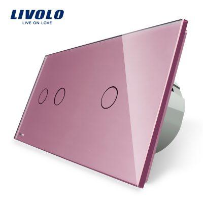 Intrerupator dublu + simplu cu touch Livolo din sticla culoare roz