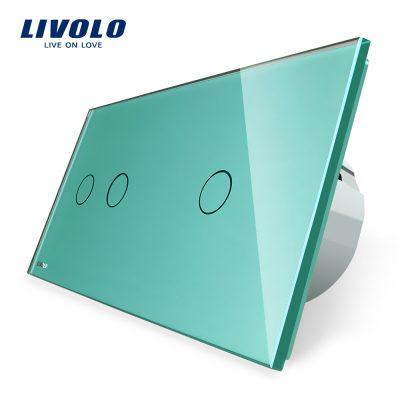 Intrerupator dublu + simplu cu touch Livolo din sticla culoare verde