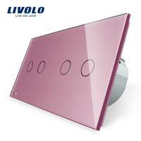 Intrerupator dublu + dublu cu touch Livolo din sticla culoare roz